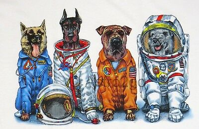 SPACE DOGS--NASA Astronaut Flight Suits Astronomy Science 2 sided kids T shirt
