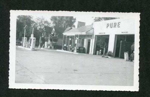 Vintage Photo PURE Gas Pumps Auto Repair ROADSIDE Service Station 419124