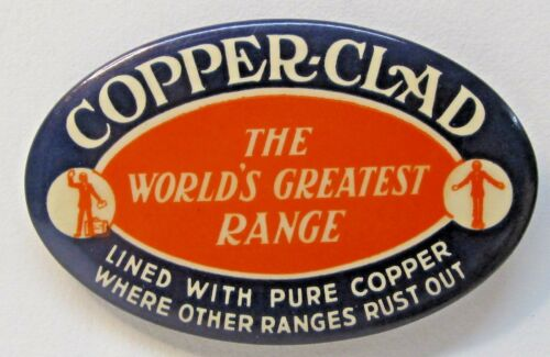 circa 1910 COPPER-CLAD RANGE stove advertising celluloid pocket mirror *