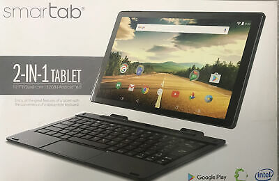 """Smart Tab 10.1"""" 2 in 1 tablet + keyboard Quad Core 32 GB storage Android 6.0"""