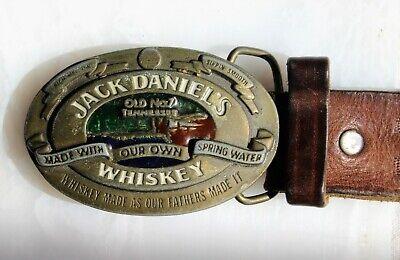 Rarität! brauner geprägter Ledergürtel 95 cm mit alter Jack Daniels Schnalle gebraucht kaufen  Korbach