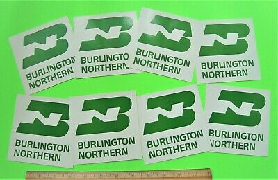 """8 Vintage BURLINGTON NORTHERN RAILROAD 4.5"""" X 4.5"""" PEEL-N-STICK BAGGAGE DECALS"""