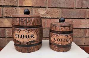 Vintage Ceramic Barrel Kitchen Canisters - USA Golden Grove Tea Tree Gully Area Preview