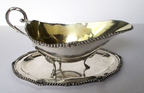 Antique 900 Silver Sauce Boat With Salver & Gilt Lining