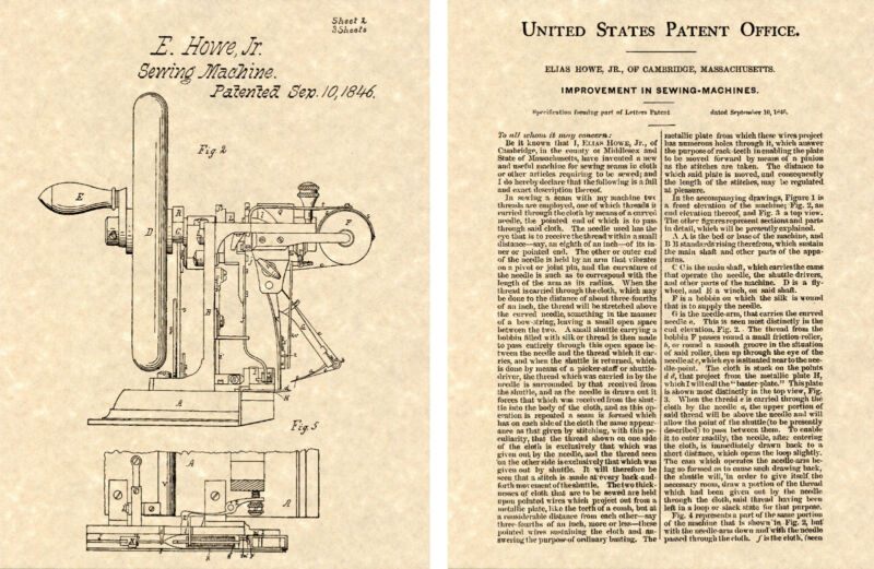 1st US PATENT for SEWING MACHINE Art Print READY TO FRAME!!!! 1849 Elias Howe