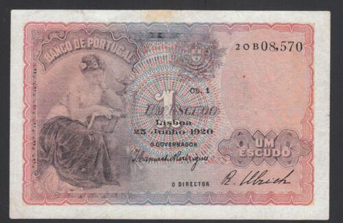 Portugal 1 Escudo 1920  Good  P. 113,   Banknote, Circulated