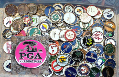 BATCH 10 ASSORTED LOGO GOLF BALL MAGNETIC COIN MARKERS BRASS COLOR INCL 2020 PGA