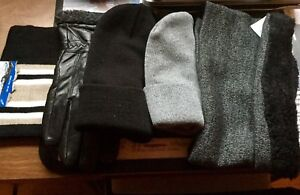 Men's leather gloves, toques & scarfs