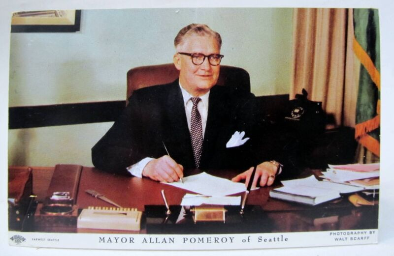 1952 - 1956 MAYOR ALLAN POMEROY Seattle Washington postcard