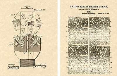 Howard Hughes Drill Bit Us Patent Art Print Ready To Frame Texas Oil Tricone