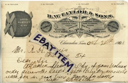 1903 H W Taylor & Sons LETTERHEAD Clarendon Texas BAKER PERFECT BARBED WIRE