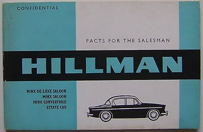 Hillman Minx Original UK confidential Salesmans Book  Pub No. 751/H  c. 1960/61