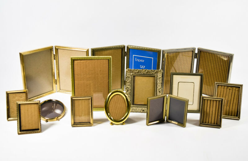 14 Vintage Assorted Brass Art Deco Standing Hinged Folding Picture Frames