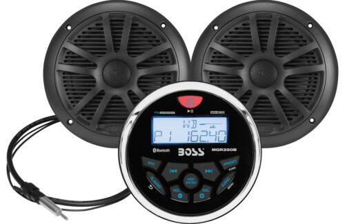 "Boss MCKGB350B.6  Boat Marine Gauge Bluetooth Radio Stereo Black 6.5"" Speakers"