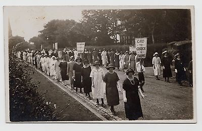 POSTCARD - women on religious march, unknown location, 1920s fashion, real photo