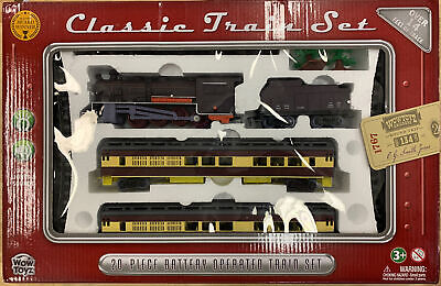 WOWTOYS 20pc CLASSIC TRAIN SET! Battery Operated Lights & Sounds NEW