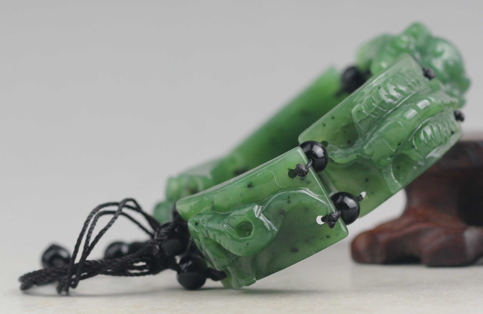 China natural hetian jade bangle Chinese jade five poison beads Bracelet