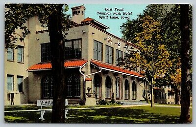 Spirit Lake Iowa~Templar Park Hotel~Annual Knights Conclave~1947 Linen Postcard