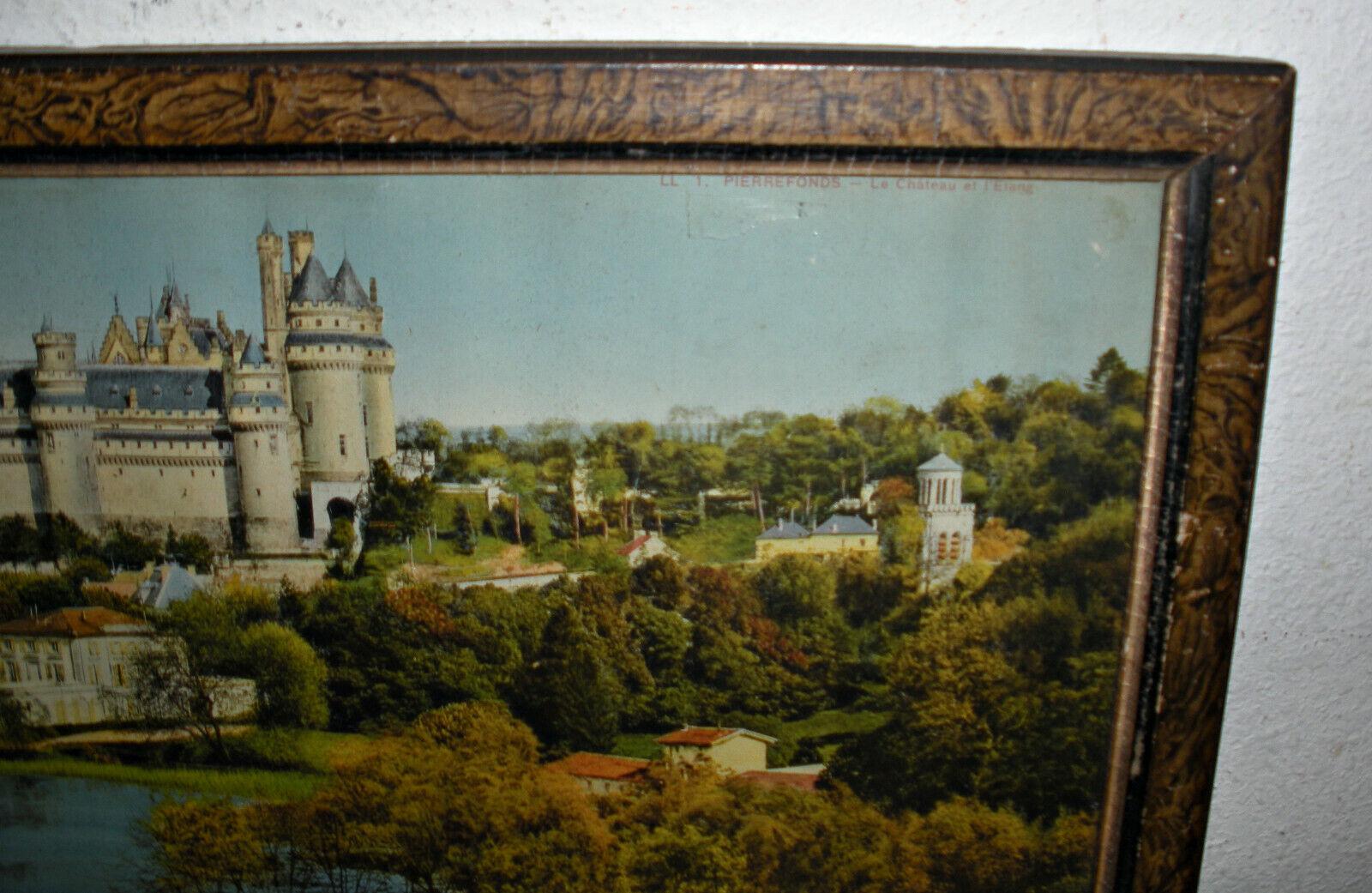 Antique Litho Orig Frame 1920s France LL 1. Pierrefonds Le Chateau Et L Etang - $128.84