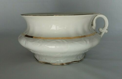 Victorian Sterling Co. Cream & Gold Gilt Porcelain Chamber Pot Raised Flourish
