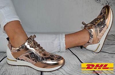 Damen Schuhe Sneaker ROSE GOLD GLITZER Sportschuhe Ballerina Freizeit Turnschuhe - Gold Damen Sneaker