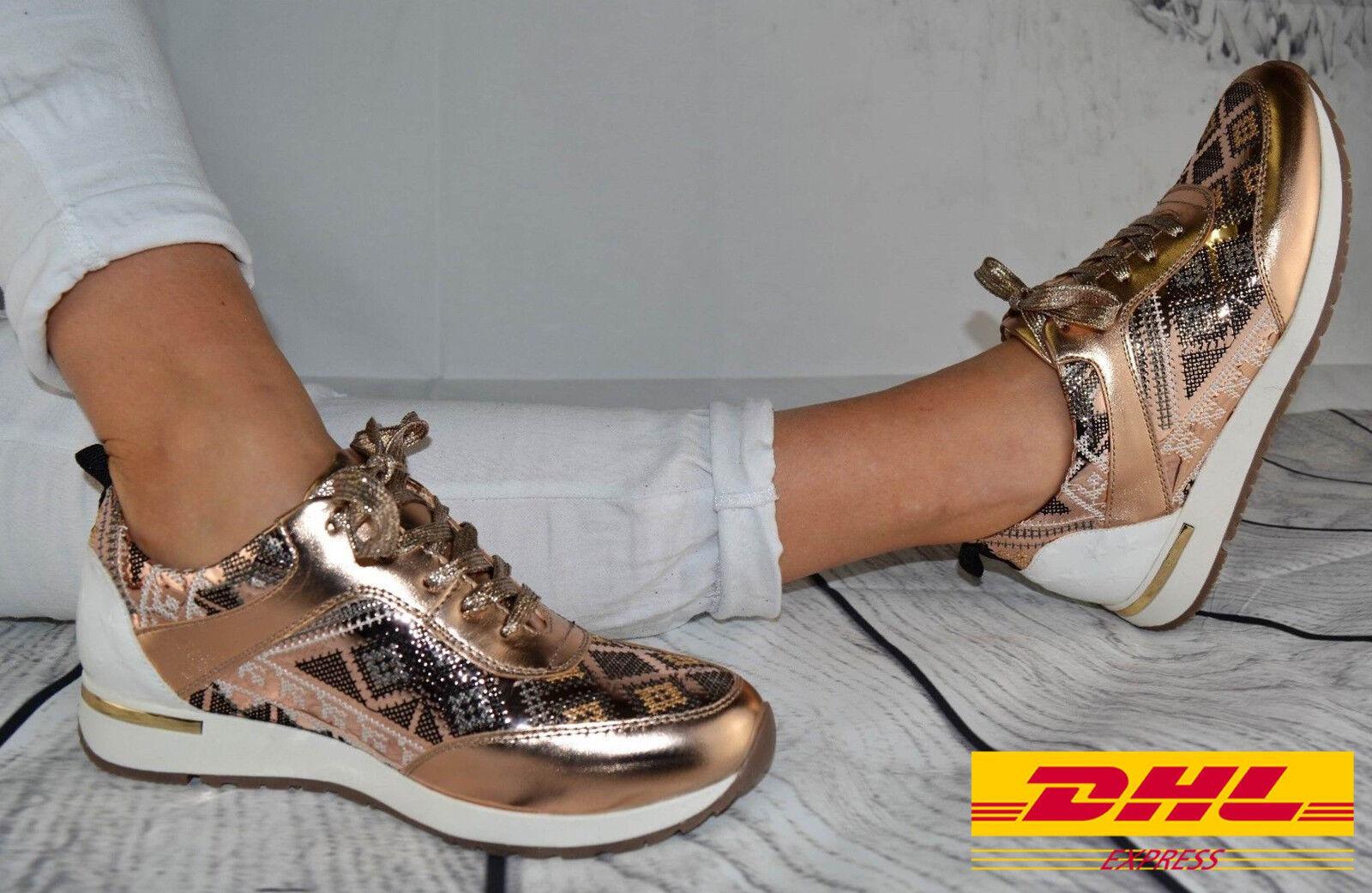 Damen Schuhe Sneaker ROSE GOLD GLITZER Sportschuhe Ballerina Freizeit Turnschuhe