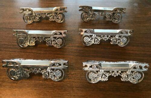 Vintage Godinger Silverplated Set of 6 KNIFE REST with Flowers
