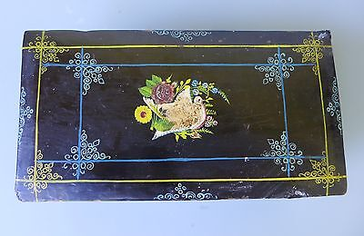 "Vintage Olinala Guerrero lacquered wood box 8 15/16"" long Mexican Folk Art"