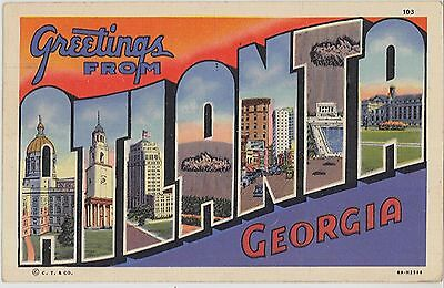1943 Greetings from ATLANTA Georgia large letter cutout postcard -