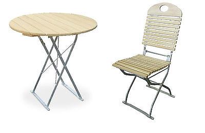 Biergartentisch rund Ø90 cm Edition-Exklusiv natur/verzinkt mit 2 Stühlen