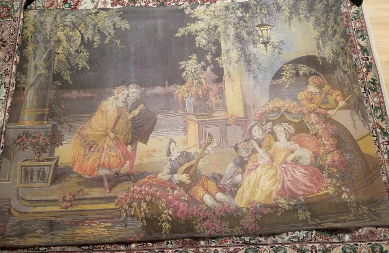 Large Victorian French Tapestry Signed B. Deligne