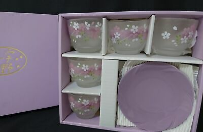 Japanese Cold cup & Plate Set 5 Sakura Dish Yunomi purple From Japan **B143