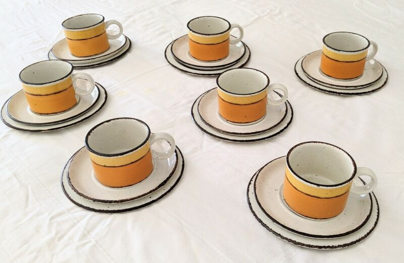 Stonehenge Midwinter Sun Cup, Saucer & Side Plate Trios SET of SEVEN! Vintage