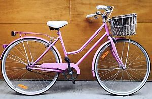 Lady woman vintage classic style bike + helmet and lock Melbourne CBD Melbourne City Preview