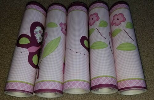Tiddliwinks Plum Butterfly wallpaper border x 5 retired rare flowers purple
