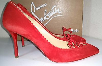 Rote Sohle Spitze (Christian Louboutin Scalopump Rot Wildleder Rote Sohle Pumpe Spitz Schuhe 37.5)