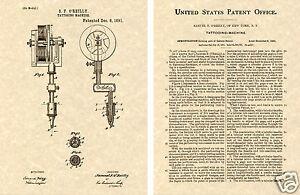 TATTOO-MACHINE-Patent-Art-Print-READY-TO-FRAME-Oreilly-gun-needle-1891