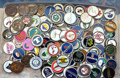 BATCH 10 ASSORTED LOGO GOLF BALL MAGNETIC COIN  MARKERS COLLECTION BRASS COLOR + Magnetic Ball Marker