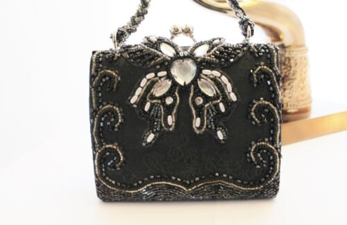 Elka - little black and silver beaded butterfly purse - evening bag
