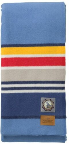 Full Size Blue Blanket Virgin Wool Striped Pendleton National Park Collection