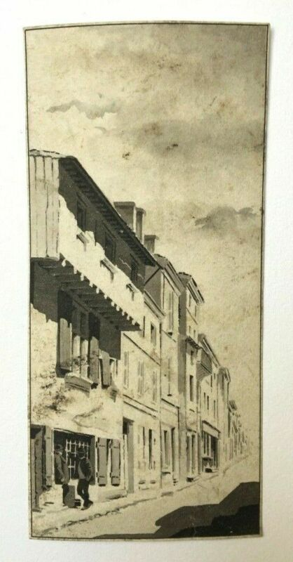 Old drawing, Lavis, Ink, Lively street, Characters, 20th century