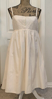Banana Republic Spaghetti Strap Silk Blend Ivory Sun Dress - Sz 8