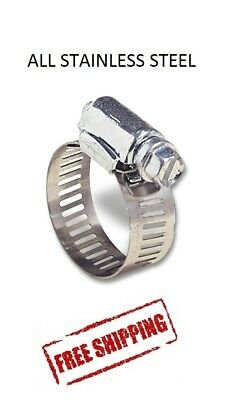 Hose Clamp All Stainless Steel Worm Gear Mini 716 To 2532 10 Pc Marine 6