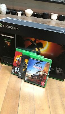 NEW SEALED Xbox One X 1TB Console with Shadow of The Tomb Raider + 3 NEW Games
