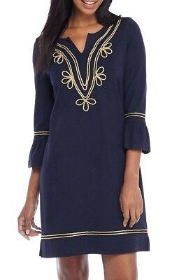 Trim Ponte Knit Dress (Crown & Ivy Navy/Gold Rope Trim Stretch Ponte Knit Dress -  $99.50)