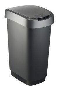 ROTHO Twist  Abfalleimer 50L Schwarz/Silber Swingeimer Mülleimer Abfallbehälter
