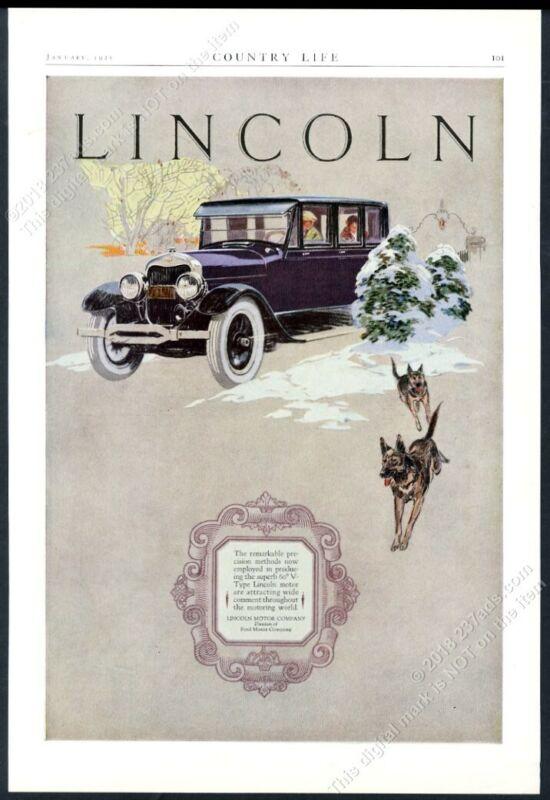 1925 Lincoln enclosed car German Shepherd dogs color art vintage print ad