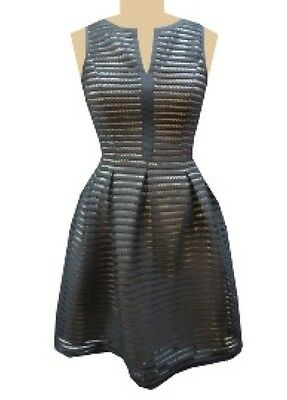 (VINCE CAMUTO Dress 2 Black Striped Fit And Flare Sleeveless XS Pleated $188)