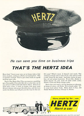 1957 Chevrolet Bel Air Hertz Rental   Vintage Advertisement Car Print Ad J475