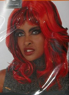 Halloween Costume Adult Red Black Witch Wig Theater Witches Gothic Redhead Bangs - Red Head Halloween Costume